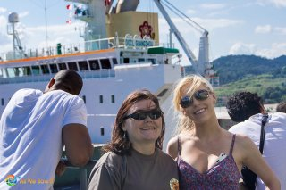 Linda and her child at the Panama Canal