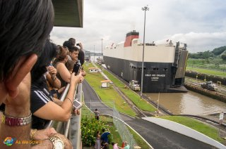 site visitors watch ships transit Miraflores Locks during the Panama Canal